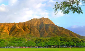 Backdrop for Oahu's most scenic luau: Diamond Head Crater