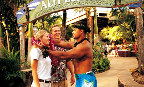 Traditional luau greeting