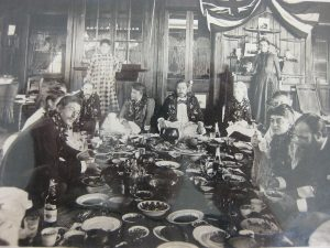 Royal luau in 1889 with King Kalakaua, Princess Liliuokalani, and Robert Louis Stevenson