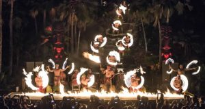 Spectacular fire knife dance finale at the Chief's Luau