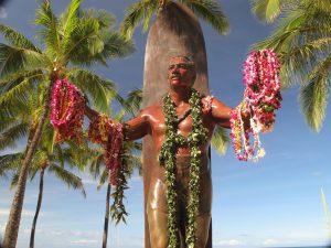 Statue of famed water man Duke Kahanamoku draped in lei