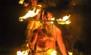 Fire knife dancers at Toa Luau on Oahu's North Shore