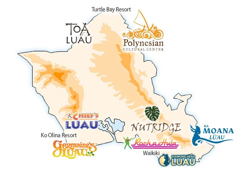Map of Oahu Luaus
